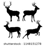 deer black silhouette vector... | Shutterstock .eps vector #1148151278