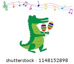 crocodile is playing maracas. | Shutterstock .eps vector #1148152898
