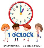 1 o'clock and students... | Shutterstock .eps vector #1148165402