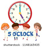 5 o'clock and students... | Shutterstock .eps vector #1148165435