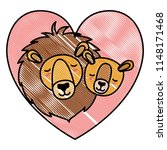 wild lions couple with hearts | Shutterstock .eps vector #1148171468