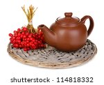 tea with red viburnum isolated... | Shutterstock . vector #114818332