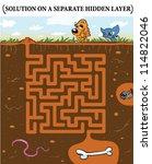 cute dog's maze game  help dog... | Shutterstock .eps vector #114822046