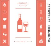bottle of wine and wineglass... | Shutterstock .eps vector #1148226182