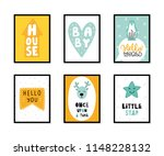 colorful childish vector cards... | Shutterstock .eps vector #1148228132