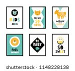 colorful childish vector cards... | Shutterstock .eps vector #1148228138