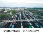 railway station with lots of... | Shutterstock . vector #1148230895