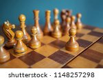 authentic wooden chess set with ... | Shutterstock . vector #1148257298