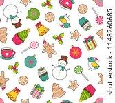 seamless of cute christmas... | Shutterstock .eps vector #1148260685