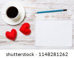 coffee cup notepad pencil and... | Shutterstock . vector #1148281262