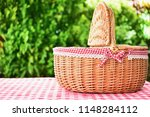 wicker basket  with red plaid... | Shutterstock . vector #1148284112