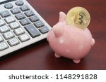 piggybank with bitcoin coin and ... | Shutterstock . vector #1148291828