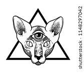 tattoo cat. vector illustration ... | Shutterstock .eps vector #1148297042