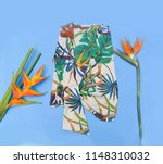 summer pants with floral... | Shutterstock . vector #1148310032