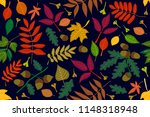 colorful leaves and acorns on... | Shutterstock .eps vector #1148318948