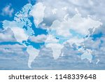 double exposure of world map... | Shutterstock . vector #1148339648