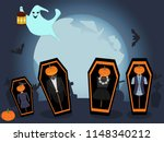 halloween on the cemetery....   Shutterstock .eps vector #1148340212