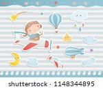 set of elements for baby shower ... | Shutterstock .eps vector #1148344895