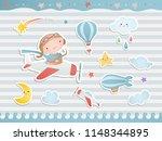 set of elements for baby shower ... | Shutterstock .eps vector #1148344895