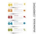 vector five steps progress... | Shutterstock .eps vector #1148345342