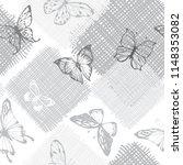 seamless monochrome pattern... | Shutterstock .eps vector #1148353082