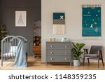 real photo of a grey cupboard... | Shutterstock . vector #1148359235