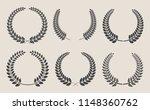 vector laurel wreaths set | Shutterstock .eps vector #1148360762