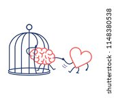 heart helping brain to escape... | Shutterstock .eps vector #1148380538