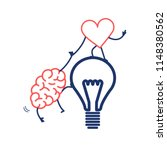 brain and heart cooperation and ... | Shutterstock .eps vector #1148380562