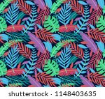 tropical vector green leaves... | Shutterstock .eps vector #1148403635