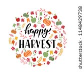 happy harvest   hand drawn... | Shutterstock .eps vector #1148429738