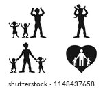 father with kids silhouette... | Shutterstock .eps vector #1148437658