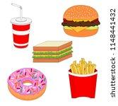 fresh unhealthy fast food menu... | Shutterstock .eps vector #1148441432