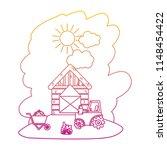 degraded line house farm with...   Shutterstock .eps vector #1148454422