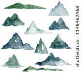 watercolor mountain drawing ... | Shutterstock . vector #1148462468