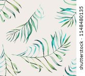 tropical leaves watercolor... | Shutterstock . vector #1148480135
