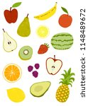 fruit isolated vector icons... | Shutterstock .eps vector #1148489672