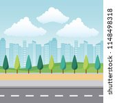 landscape park and city | Shutterstock .eps vector #1148498318