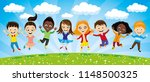 cheerful children in a jump on... | Shutterstock .eps vector #1148500325