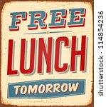 vintage metal sign   free lunch ... | Shutterstock . vector #114854236