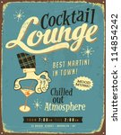 vintage metal sign   cocktail... | Shutterstock . vector #114854242