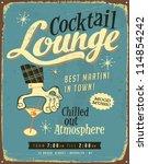 vintage metal sign   cocktail... | Shutterstock . vector #114854242