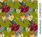 vintage tropical pattern with... | Shutterstock .eps vector #1148562125