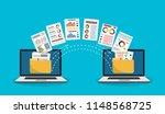 file transfer. two laptops with ... | Shutterstock .eps vector #1148568725