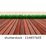 brown wood terrace and green... | Shutterstock . vector #114857605