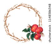 wreath of twigs and rose hips  | Shutterstock . vector #1148586548