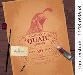 vintage logo with bird head.... | Shutterstock .eps vector #1148593658