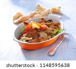 pork steak with oyster mushroom ... | Shutterstock . vector #1148595638