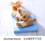 lunch wraps tortilla with... | Shutterstock . vector #1148597735
