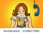 lunch break. woman drinking... | Shutterstock .eps vector #1148617082